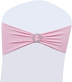 100PCS Wedding Chair Decorations Stretch Chair Bows and Sashes for Party Ceremony Reception Banquet Spandex Chair Covers slipcovers (100, Pink)