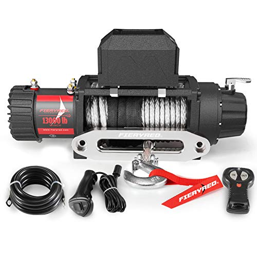 FIERYRED Electric Synthetic Rope Winch - 13000 lb. Load Capacity Fit for Jeep,Truck,SUV with Wirless Remote & Corded Control
