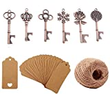 Yansanido Pack of 90 Mixed 6 Styles Rose Gold Skeleton Key Bottle Opener with Escort Tag Card and Twine for Wedding Favors for Guests Party Favors (90pcs Mixed 6 Styles Copper)