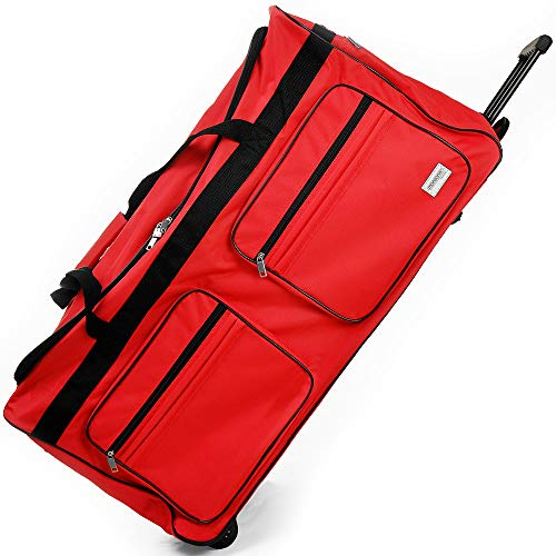 Deuba Travel Duffel Luggage Bag XL 160L Wheeled Gym Sport Camping Large Lightweight Suitcase Duffle Telescopic Handle (Red)