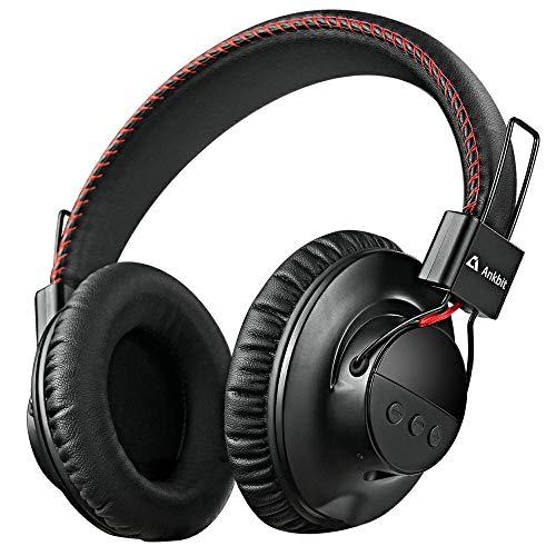 1mii Audífonos Bluetooth Diadema, Auriculares Bluetooth 5.0 Inalámbricos Over Ear, Audífonos Alámbricos con Cable de Audio 3.5mm y Micrófono, HiFi AptX LL, Batería de 40h para PC, Celular, Negro/Roj
