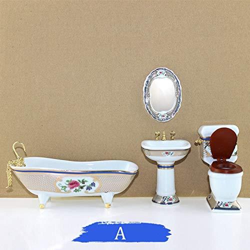 LULIJP Cuarto de baño Set de Lavado 1/12 Casa de muñecas en Miniatura Accesorios Simulación Bañera Espejo de Lavado Closestool Cuenca de muñeca decoración de la casa (Color : Blanco, Size : Gratis)