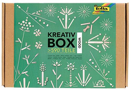 folia 938 Box Wood, Bastelkiste mit über 590 Teilen, viele Verschiedene Materialien für phantasievolles, kreatives Basteln und Dekorieren, Natur, one Size