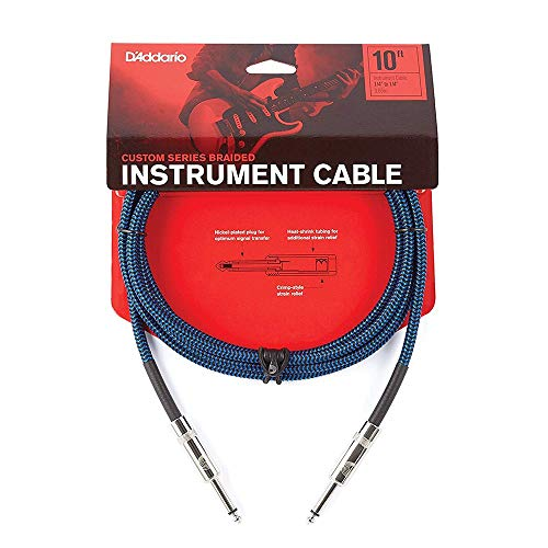 D'Addario Accessories Braided Instrument Cable, 10' - Blue
