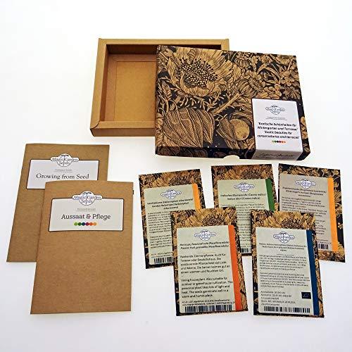Exotische Schönheiten für Wintergarten & Terrasse - Samen-Geschenkset mit 5 frostempfindlichen Blühpflanzen aus aller Welt