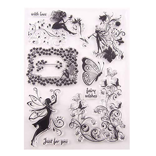 GIMITSUI Store New Clear Stamps for DIY Card Making (Fairy and Butterfly)