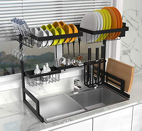 Dish Drying Rack Over Sink, 2 Tier Stainless Steel Length Expandable Kitchen Dish Rack, Adjustable Large Dish Rack Drainer for Kitchen Organizer Storage Space Saver Utensils Holder (Black)