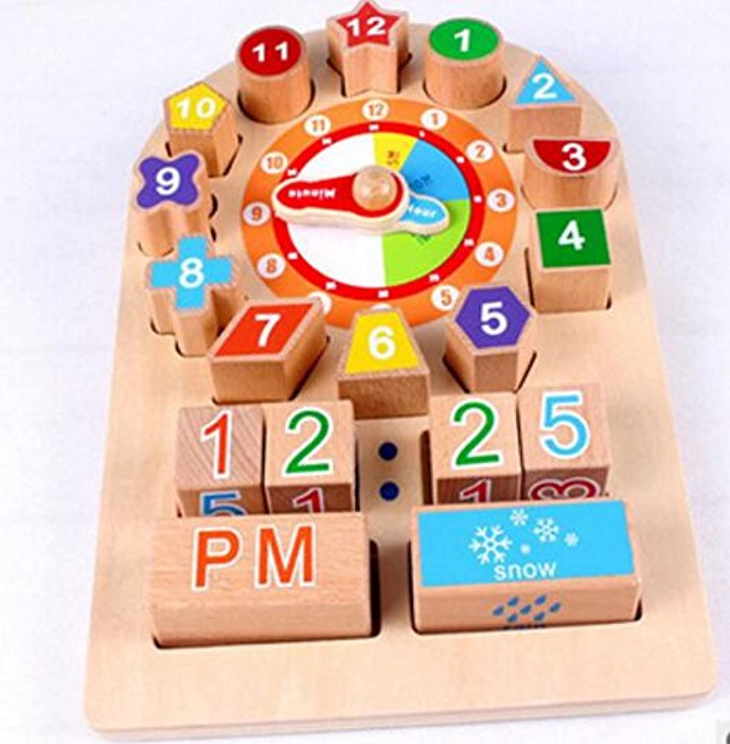 Baby Novelty Toy High Quality Educational Wooden Clock Toy Early Learning Time Number Shapes color Animal Cognitive Toy for Kids