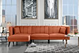 Mid Century Modern Style Linen Fabric Sleeper Futon Sofa, Living Room L Shape Sectional Couch with Reclining Backrest (Orange)