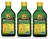 Moller Omega 3 Aceite de Hígado Suplemento dietético nórdico con EPA, DHA, Vitamina A, D, E Premio Superior del Gusto Alta pureza Sabor a Lemon de marca de 165 años 250 ml x 3 botellas