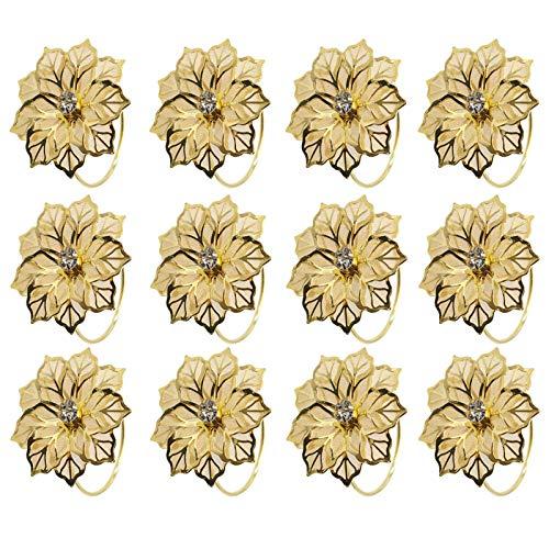 Sayopin Serviette Ring Gold Papier Serviettenringe, 12 Stück Serviettenringe Set Tischdekoration Serviettenhalter für Hochzeit Hotel Tisch Dekoration Party Serviettenringe