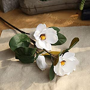 Yeefant Magnolia Long Branch Artificial Flowers PE Bouquet Bridal Hydrangea for Home Garden Wedding Living Room Sweet Decor,30Inches,White