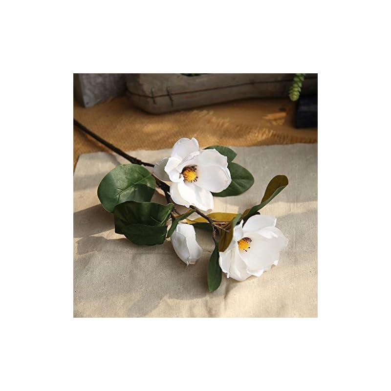 silk flower arrangements yeefant magnolia long branch artificial flowers pe bouquet bridal hydrangea for home garden wedding living room sweet decor,30inches,white