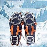 Crampones, 18 Garras de Dientes Crampones Cubierta Antideslizante de Zapatos con Cadena de Acero Inoxidable para Excursiones Pesca Escalada Trotar Montañismo Caminata sobre Nieve y Hielo,Orange m