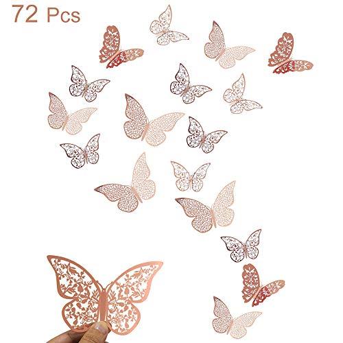 72 Piezas Pegatina de Pared de Mariposa 3D calcomanías de pared de mariposa 3D mixtas, DIY Dormitorio Tatuajes de Decoración de Bebé Extraíble Mural de Pared Decorativo oro rosa