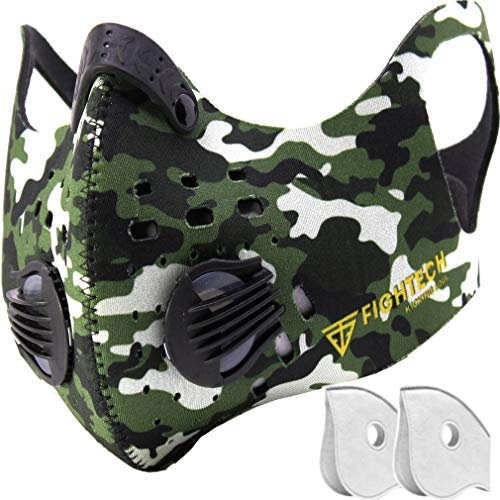 FIGHTECH Anti Pollution Mask with 2 Carbon Filters for Pollution Pollen Allergy Woodworking Mowing Running | Washable and Reusable Neoprene Half Face Mask (Large, Black)