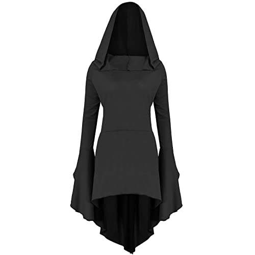 Gemijack Womens Renaissance Costumes Hoodies Long Sleeve High Low Medieval  Dress Lace Up Hooded Cloak 480303494