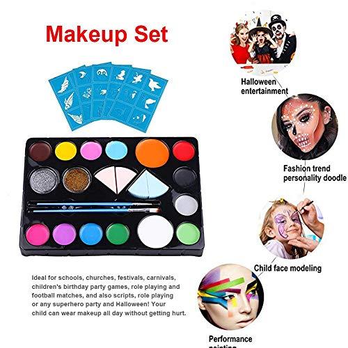 mysticall Kit de Pintura Facial para niños, Juego de Maquillaje de Halloween de 18 Colores para niños, Juego de Pintura Corporal Lavable no tóxico para Halloween