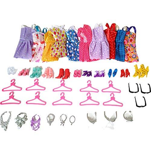 Guillala 42 piezas de ropa vestido de fiesta, accesorios para muñecas, cumpleaños, Navidad, boda, día de San Valentín
