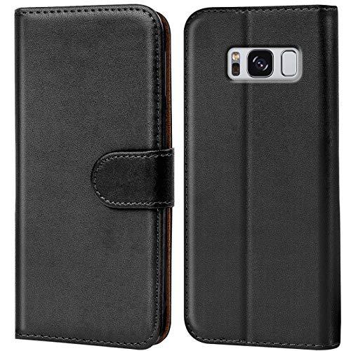 Conie Handyhülle für Samsung Galaxy S8 Plus Hülle, Premium PU Leder Flip Case Booklet Cover Weiches Innenfutter für Galaxy S8 Plus Tasche, Schwarz
