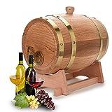 Botte di vino in legno da 3 litri, dispenser per botte di vino vintage in rovere per whisk...
