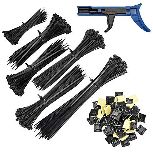 PERFETSELL 600 Stück Nylon Kabelbinder 100/150/200/300mm Lang schwarz Kabel Binders mit 100 Kabelbinderhalter Klebesockel Hitzebeständig UV-Beständig Kabelbinder mit Kabelbinderpistole für Draht Kabel