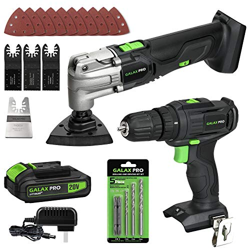 GALAX PRO Max 20V Cordless Combo Kit, 2-Speed Electric Drill, 1.3A Oscillating Tool, 1 Piece Battery Pack 1.3Ah with Charger, 2-Tool