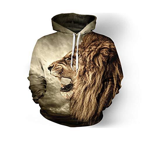 Sudadera con Capucha Hombre 3D suéter Animal Estampado Digital Moda más Sudadera