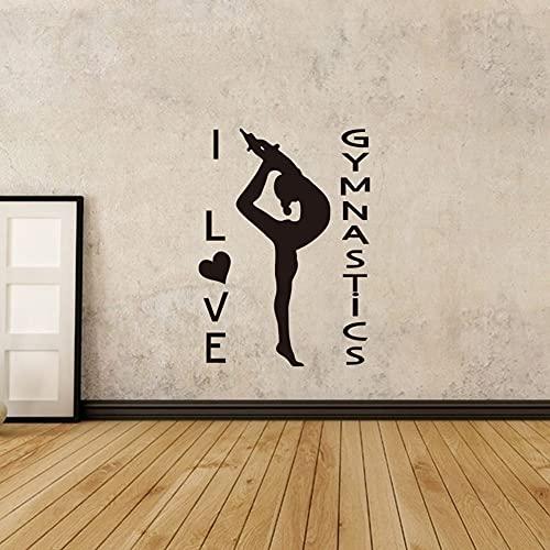 Zdklfm69 Pegatinas de Pared Adhesivos Pared Yoga Chica Gimnasia Atletismo Pared Mural niñas habitación decoración Gimnasia Chica Vinilo Pared Arte Cartel 84x116cm