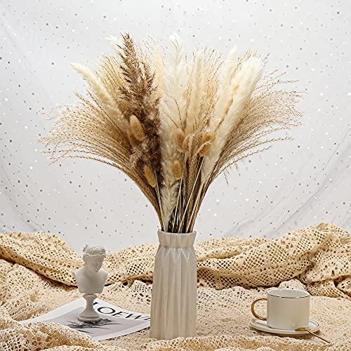 17inch Pampasgras getrocknetes Pampasgras Dekor, natürliches Pampasgras Bouquet Flauschige Pampasgras Pflanzen für Vasenfüller Boho getrocknete Blumen für Zuhause Hochzeitsdeko (65Pcs)