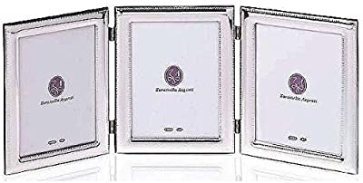 Luxe ROMA TRIPLE PANE beaded border Sterling Silver frame by Zaramella Argenti® Italy - 4x6