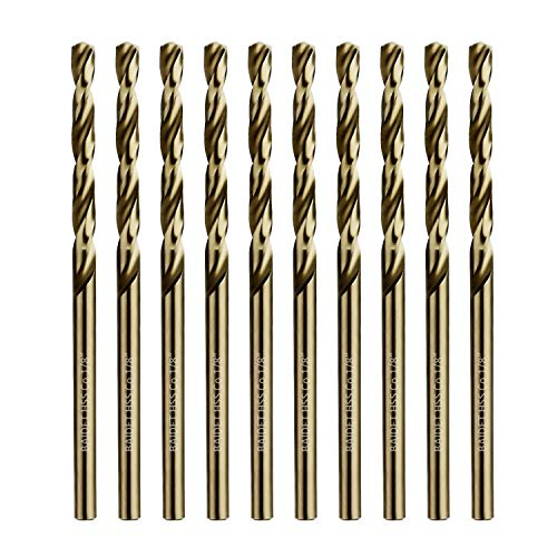 "BAIDETS M35 Cobalt Twist Drill Bits HSS Jobber Length and Straight Shank Drill Bit, Pack of 10 PCS, Drilling for Hard Metal, Stainless Steel, Cast Iron and Other Hard Materials (1/8"")"