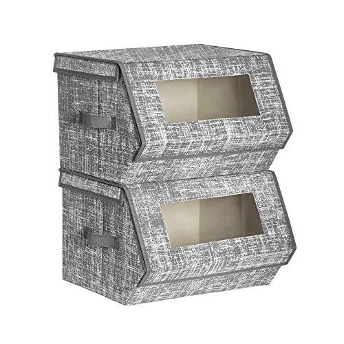 SONGMICS Aufbewahrungsboxen, Stoffboxen, mit magnetischem Klappdeckel, stapelbar, Klarsichtfenster, 2er Set, Metallgerüst, für Kleidung, Spielzeug und Bücher, grau RLB002G02