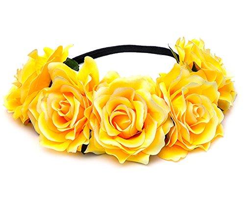 Cheerlife Rosen Blumen-Stirnband Blumenkranz Urlaub Hochzeit Festivals Haarkranz Blumenkrone (Gelb)