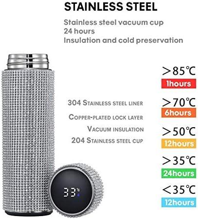 Amazon.com: EKUEE 500ml Creative Diamond Thermos Bottle Water Bottle  Stainless Steel Smart Temperature Display Vacuum Flask Mug Gift for Men  Women (Gold 500ML): Home & Kitchen