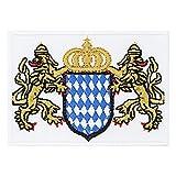 PATCH KING Freistaat Bayern Aufnäher bayrisches Staatswappen Bügelbild Bestickt - Oktoberfest Aufbügler für Lederhose - Bayrische Flagge Stoff-Applikation für Hemd/Leder/Hut - 50x70mm