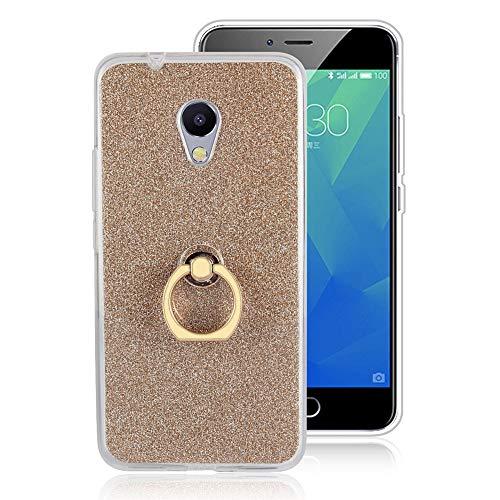 GARITANE Hülle für Meizu MX4 Pro,Bling Glitzer Handyhülle Clear Silikon Bumper Tasche Hülle Cover mit Ring Ständer Fingerhalterung (Gold)