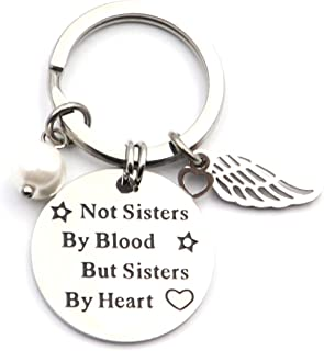 DETUCK(TM) Engraved Keychain to Sisters Stainless Steel Key Chain with Angel Wings | Not Sisters by Blood But Sisters by Heart