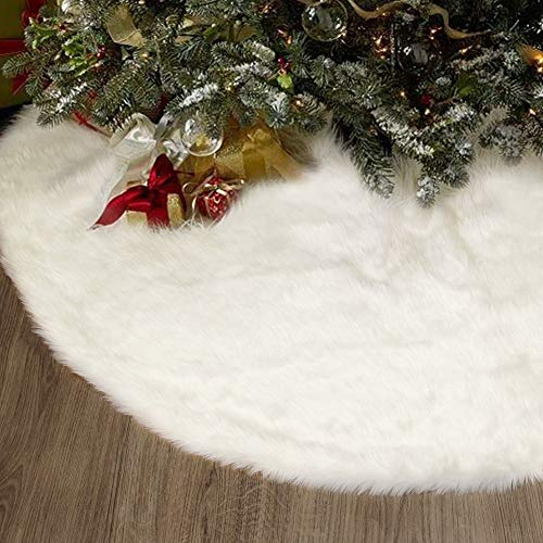 yosager 48 Inch Christmas Tree Skirt Faux Fur Tree Mat for Christmas Holiday Party Decoration, White