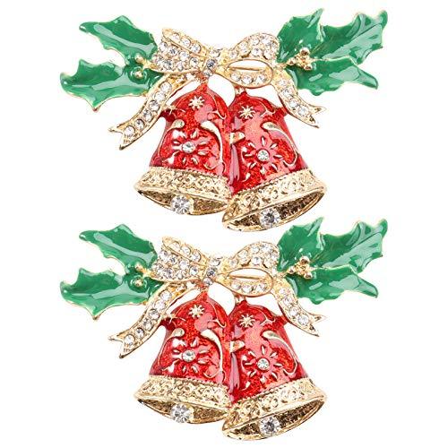 Amosfun 2Pcs Weihnachtsbrosche Pin Strass Kristall Jingle Glocke Broschen Pins Weihnachtsfeier Begünstigt Geschenke