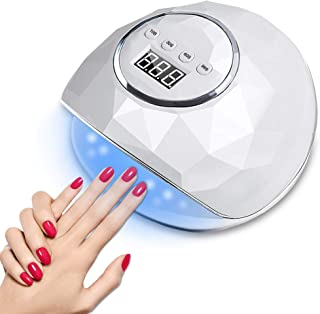 86W LED UV Nail Lamp,  Nail Dryer with Automatic Sensor for Fingernails and Toenails - 4 Timer Setting and LCD Display Professional Curing Lamp for Nail Lovers Salon Use (White-86W)