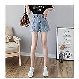 JJLESUN2Jean Shorts Mujer Shorts de Verano Botones Dobles Street Style Blue Denim Shorts para Mujer Moda Short Mujer