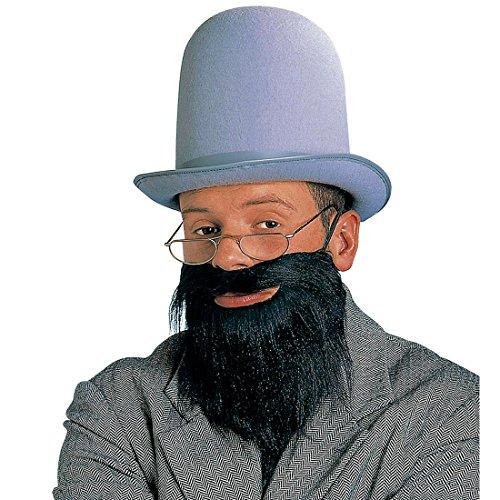 Amakando Rabbi Bart schwarz Rabbiner Vollbart Falscher Judenbart mit Schnurrbart Jude Herrenbart mit Mustache Amish Herren Kunstbart Religion Jüdischer Priester Faschingsbart Karneval Kostüm Zubehör