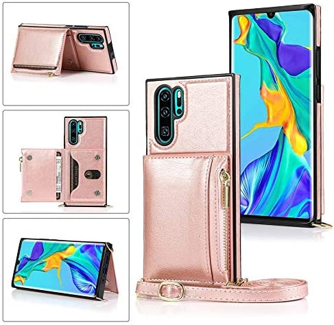 SLDiann Case for Huawei P30 Pro, Zipper Wallet Case with Credit Card Holder/Crossbody Long Lanyard, Shockproof Leather TPU Case Cover for Huawei P30 Pro (Color : Rosegold)