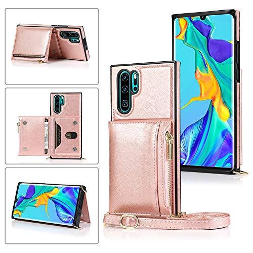CHENDX Funda para Huawei P30 Pro, con cremallera y soporte para tarjetas de crédito/correa larga cruzada, cuero TPU a prueba de golpes (color rosa