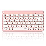 UBOTIE Wireless Bluetooth Keyboard,Portable 84-Key with Cute Retro Round Keycaps,Ergonomic Typewriter Keyboards Compatible with Windows, Android, MAC Prefer for Christmas and New Year Gift(Pink-White)