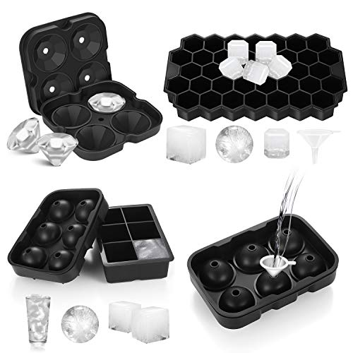 Ice Cube Molds Easy-Release Silicone and Flexible trays, 4 pack include Sphere Ice ball Maker,Large...