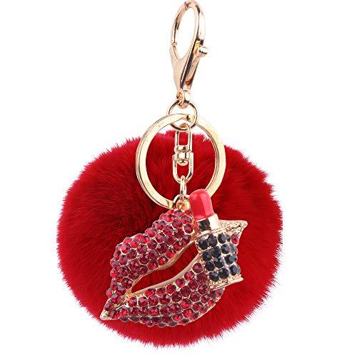 8CmHaar Ball Diamant Lippenstift Rote Lippen Schlüsselanhänger Metallhaarballtasche Verzierungen Rotes Auto