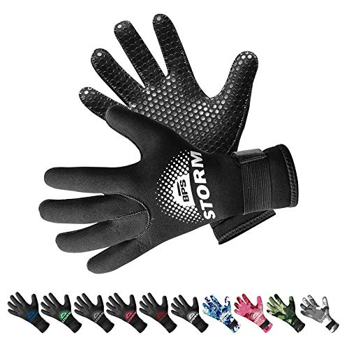 BPS 3mm Neoprene Scuba Gloves with Anti Slip Palm - Full Finger Gloves for Wetsuit, Spearfishing, Paddleboarding, and Other Water Activities - for Kids and Adults (Black / White, XX-Large)