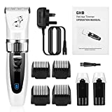 GHB Electric Dog Hair Clipper Cordless Pet Grooming Kit Low Noise 2 Rechargeable Batteries 4 Guide Combs White